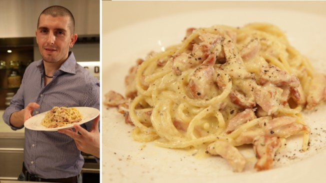Left: a stupid guy. Right: the spaghetti carbonara he made.